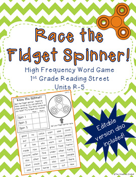 Race the Fidget Spinner - High Frequency Words-Reading Street + Editable Version