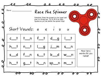 Race the Spinner ELA Fun Pack