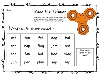 Race the Spinner ELA Fun Pack