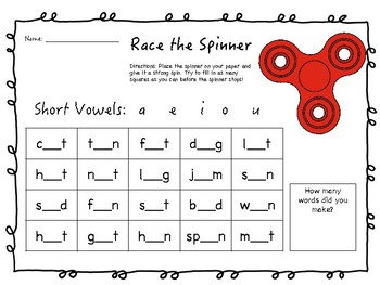Race the Spinner Short Vowel Freebie