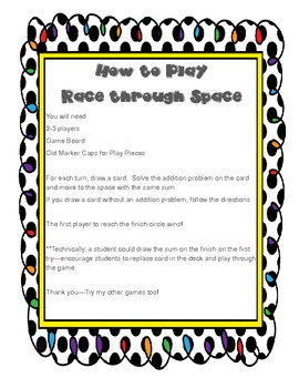 Race through Space (A Common Core Game of Addition)