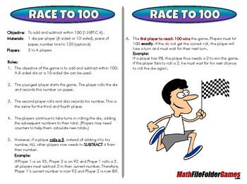 Race to 100 - 1st Grade Math Game [CCSS 1.NBT.C.4]
