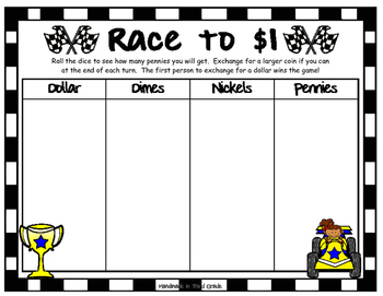 Race to 100 - A Place Value Game  (Bonus: Race to $1 is included too!)