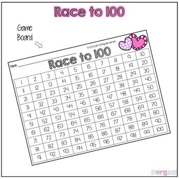 Race to 100 Kindergarten February Math Center