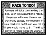 Race to 100 Game and Printable Hundreds Chart