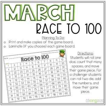 Race to 100 Kindergarten March Math Center