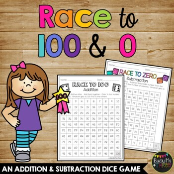 100th Day of School Math Activity Race to 100 & Race to Zero, Dice Game