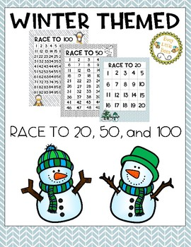 Race to 20, 50, and 100-Winter Theme (Color and B&W)