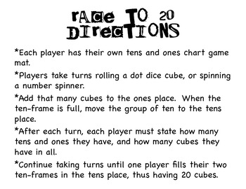 Race to 20 Place Value Game
