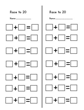 Race to 20- number line game
