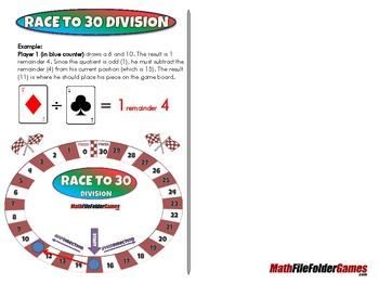 Race to 30 Division - 4th Grade Math Game [CCSS 4.NBT.B.6].
