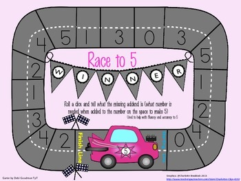 Race to 5-Math Addition Fluency Fun