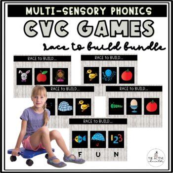 Race to Build: CVC Words! (Includes ALL 5 Volumes: Short A, E, I, O, U)