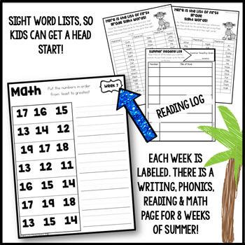 Kindergarten Summer Packet: Summer Review for Kindergarteners Entering 1st Grade