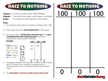 Race to Nothing - 2nd Grade Math Game [CCSS 2.NBT.B.5]