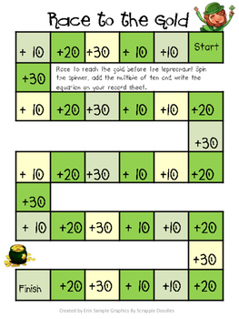Race to Reach the Gold- Adding Multiples of Ten Math Center