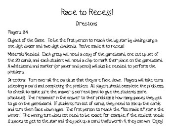 Race to Recess!  Division with Remainders Game