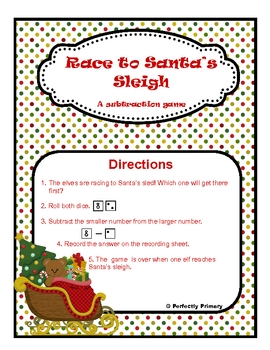 Race to Santa's Sleight: Roll and Record Subtraction