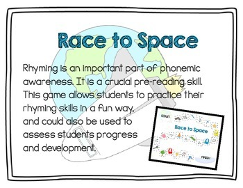 Rhyming Game or Center - Race to Space