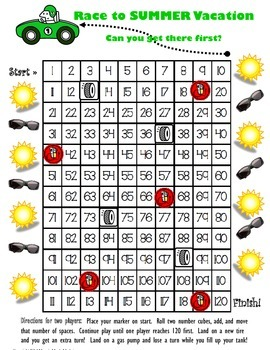 Race to Summer Vacation - 120 Chart Addition Game