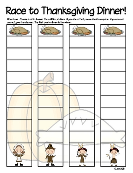 Race to Thanksgiving Dinner--Addition Basic Facts