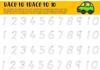 Race to Trace Numbers to 6 and 10 - Dots or Outlines - Colour or Black and White