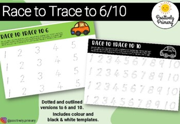 Race to Trace Numbers 6 and 10 - Dots or Outlines - Colour or B & W