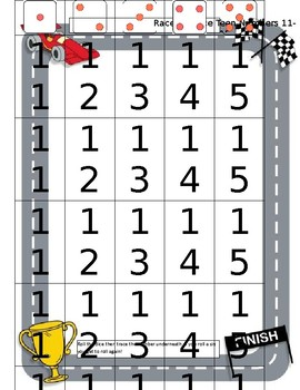 Race to Trace Teen Number Board
