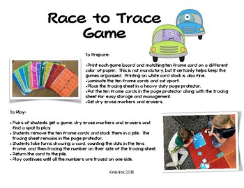 Race to Trace- Ten Frame Teens Game