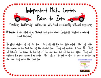 Race to Zero: Double Digit Subtraction (with regrouping) Practice