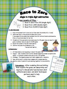 Race to Zero - single to triple digit subtraction game