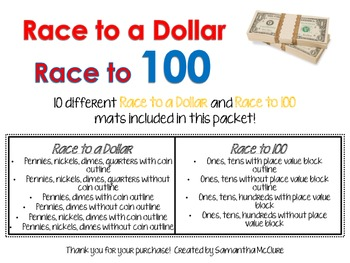 Race to a Dollar/ Race to 100 Math Centers!