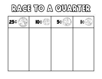 Race to a Quarter, Race to a Dollar, and Race to Two Dollars BUNDLE!