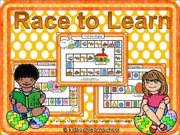 Race to learn: Rhyming, numbers and shapes review. Easter edition
