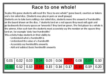 Race to one whole: Hundredths Game