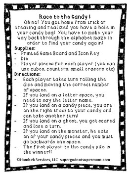 Race to the Candy- A Halloween Letter Recognition Board Game