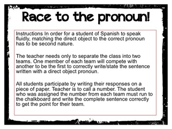Race to the Direct Object Pronoun!