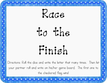 Race to the Finish Handwriting Game - Zaner Bloser