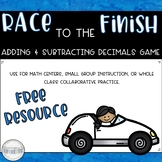 Race to the Finish Math Game: Adding & Subtracting Decimals