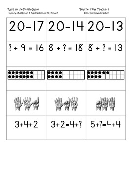 Race to the Finish fluency to 20 cards