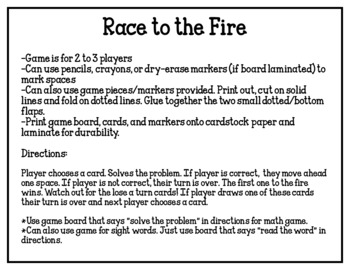 Race to the Fire-Addition Math Game (Blank & Editable Cards Included)