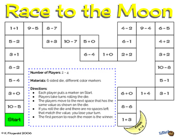 Race to the Moon Game  - Addition and Subtraction - Kindergarten