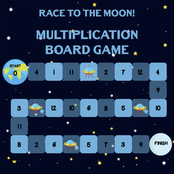 Race to the Moon - Space Themed Multiplication Board Game - Times Table Fluency