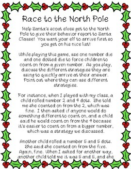 Using  Addition Strategies  Race to the North Pole