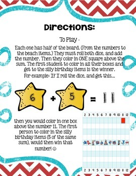 Race to the Party {an addition game for Read Across America}