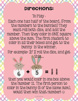 Race to the Rabbit {an addition game for Spring}