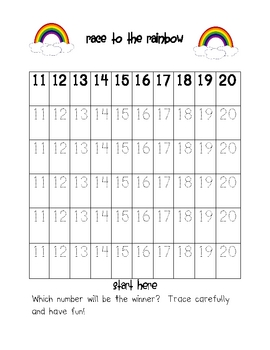 Race to the Rainbow Number Recognition and Writing