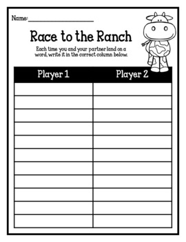 Race to the Ranch-Sight Word Game (Editable Boards Included)