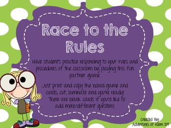 Race to the Rules Back to School Board Game (Beginning of