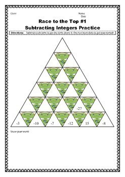 Race to the Top Adding and Subtracting Integers Puzzles